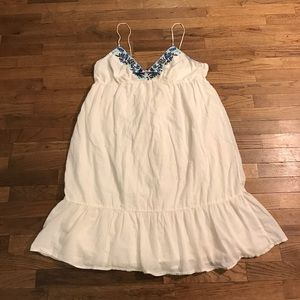Off white boho dress with blue embroidery
